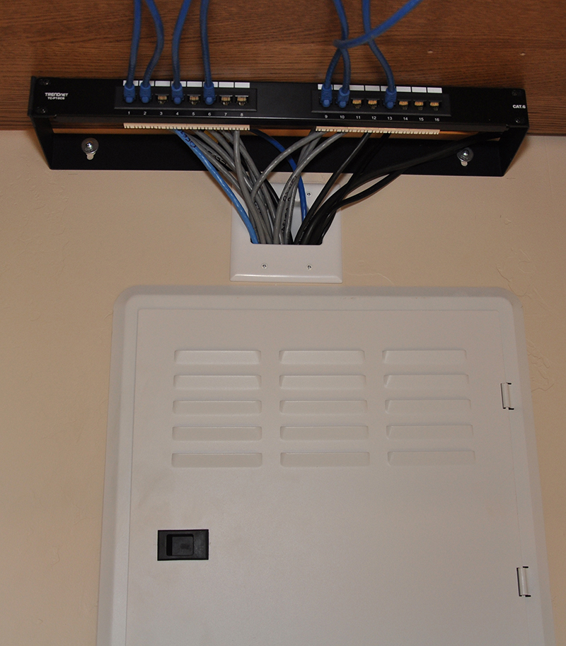 CAT6 Networking Patch Panel – more wiring inside panel