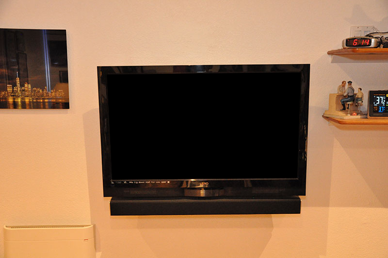 Wall-mounted Office TV and soundbar